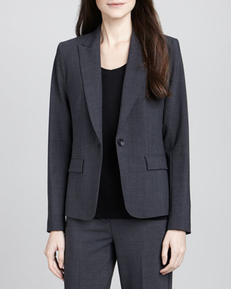Gabe 2 One-Button Blazer, Charcoal