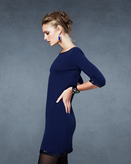 Sequin-Trim 3/4-Sleeve Cashmere Dress