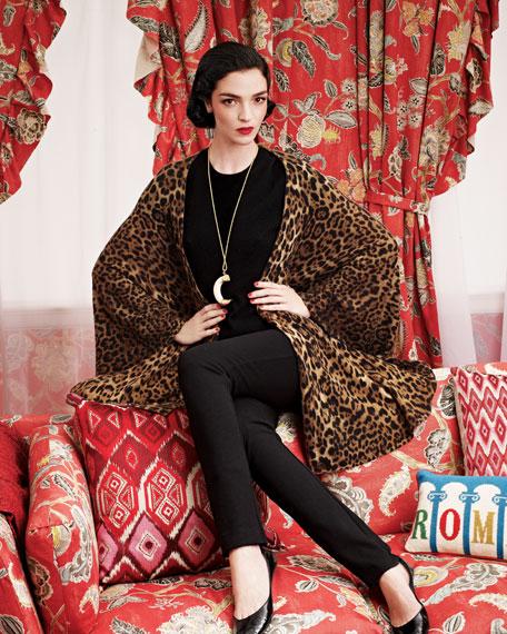 Leopard-Print Cashmere Cape