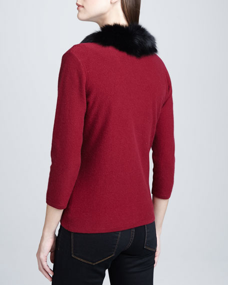 Fur-Trim 3/4-Sleeve Cashmere Cardigan