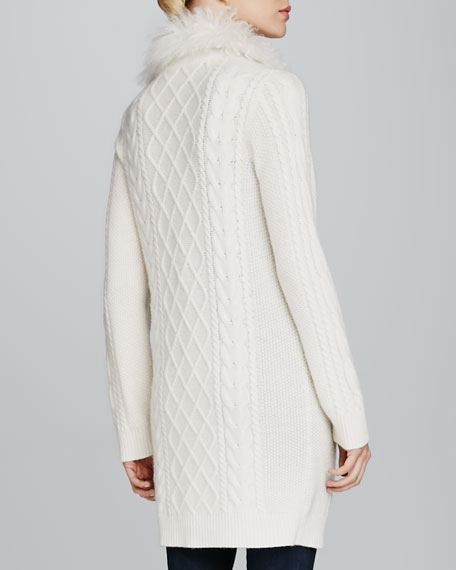 Long Fur-Collar Cable-Knit Cashmere Cardigan