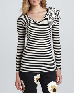 Troubadour Long-Sleeve Tee with Grosgrain Bow