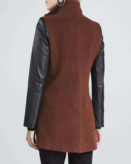 Leather-Sleeve Jacket