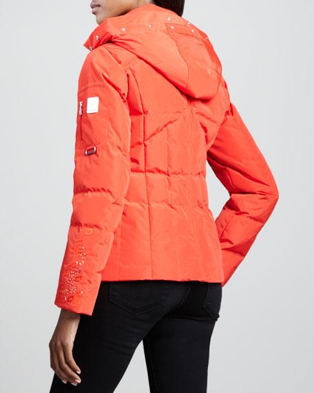 Ninni Leopard-Cuff Puffer Coat