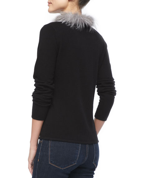 Fur-Collar Cashmere Cardigan