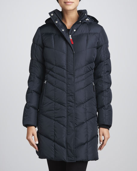 Annie Chevron-Quilted Puffer Coat
