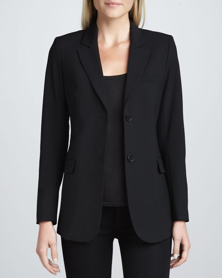Katharine Tailor Two-Button Blazer, Black