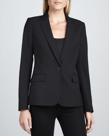 Gabrielle Tailor One-Button Blazer, Black