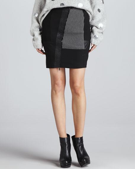 Hastings Mixed-Fabric Skirt