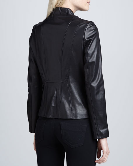 Corsette Ruched-Collar Leather Jacket