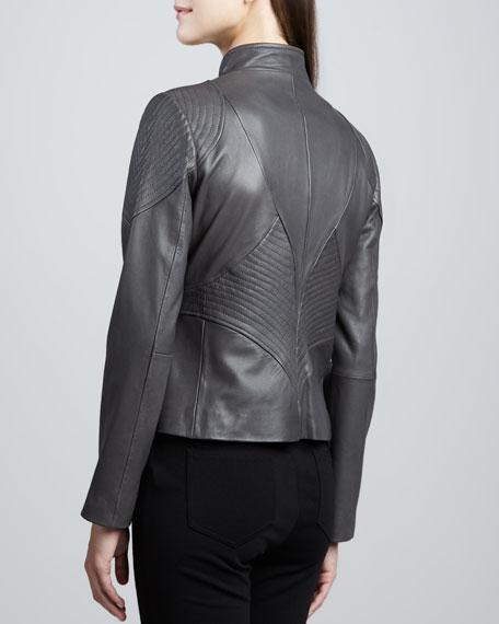 Kisha Leather Ribbed-Panel Jacket