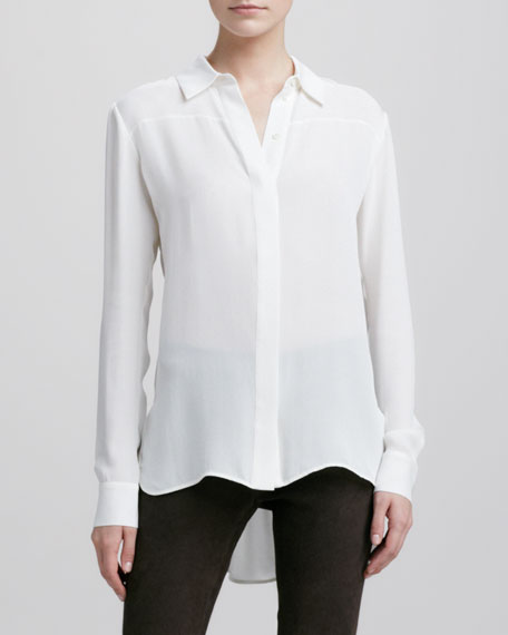 Button-Down Silk Blouse, Ivory