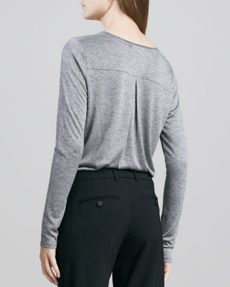 Long-Sleeve Crewneck Shirt, Dark Heather Gray