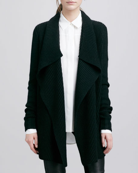 Ribbed Drape-Collar Cardigan, Black