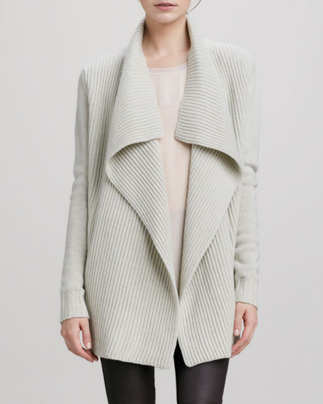 Ribbed Drape-Collar Cardigan, Ivory