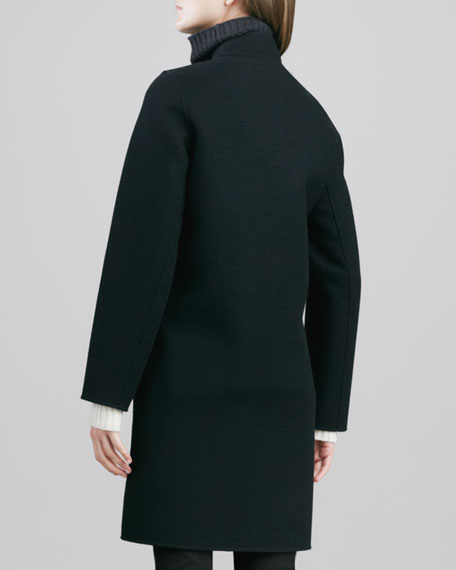 Double-Face Melton Coat with Calf-Hair Trim