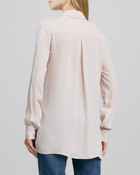 Button-Down Silk Blouse, New Buff