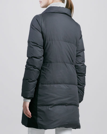 Asymmetric Puffer Coat with Leather Trim