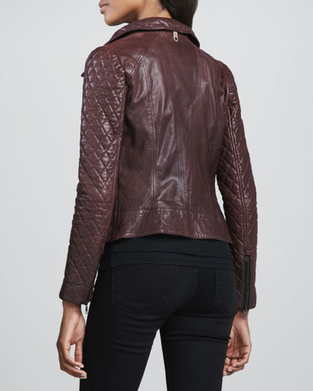 Jimmie Quilted-Sleeve Moto Jacket