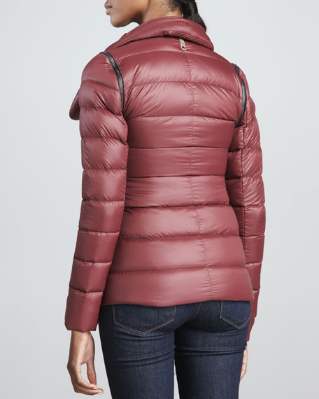 Qeren Leather-Trim Puffer Jacket