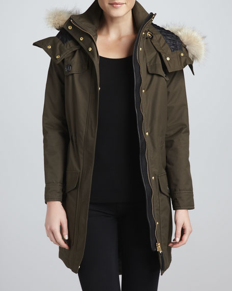 Cassandra Fur-Trim Parka Coat