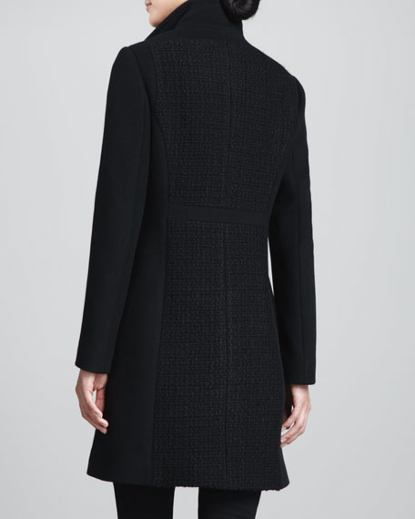 Claudia Mixed-Media Wool Coat