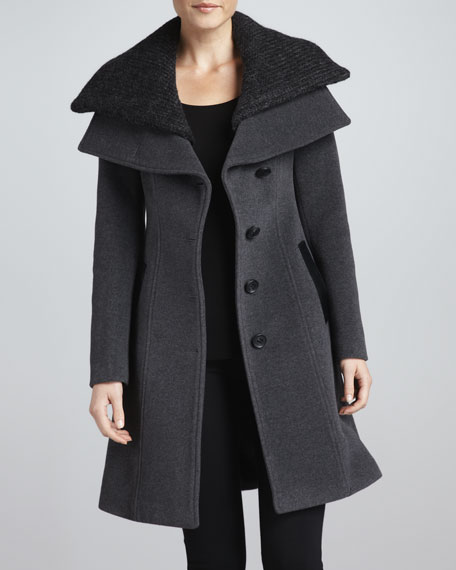 Mona Knit-Layered-Collar Coat