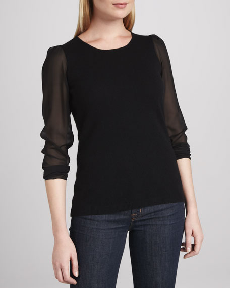 Cashmere Sweater with Chiffon Sleeves