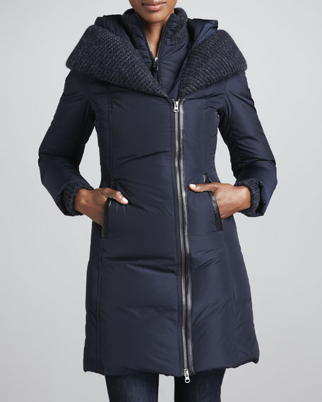 Brigid Knit-Collar Puffer Coat