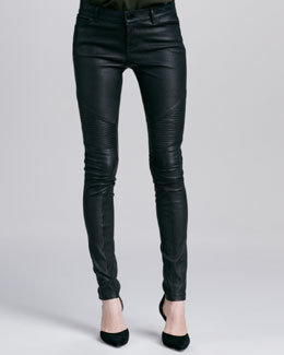 Vince Moto Leather Pants, Black