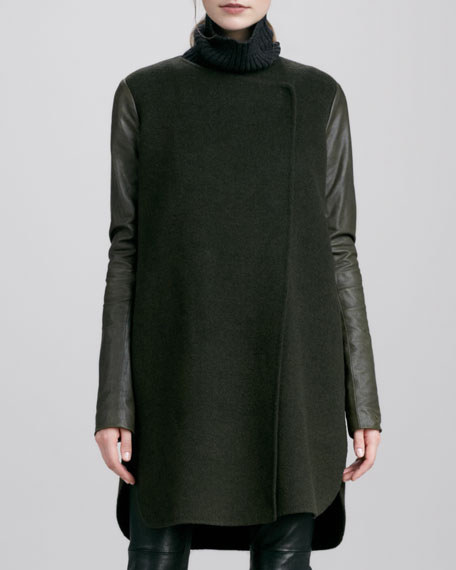 Leather-Sleeve Double-Face Wool Coat, Moss