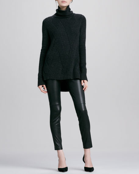 Zipper-Cuff Cropped Leather Leggings