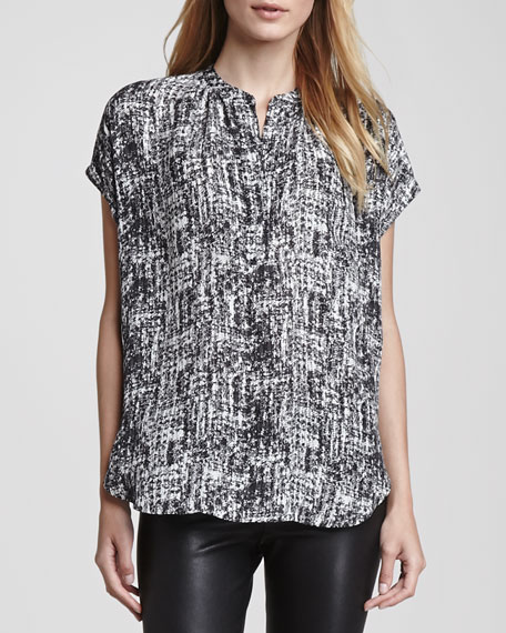 Printed Cap-Sleeve Placket Silk Blouse, White/Black