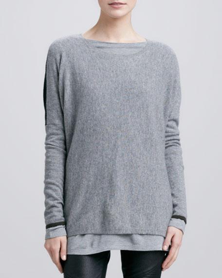 Colorblock Crewneck Sweater, Silverstreak/Black