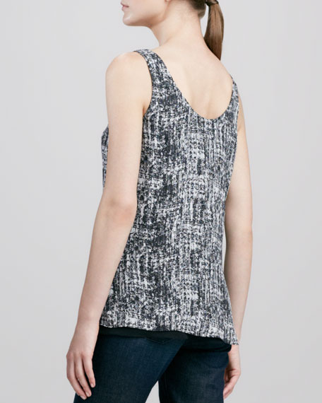 Double-Layer Printed Silk Tank, Black/White