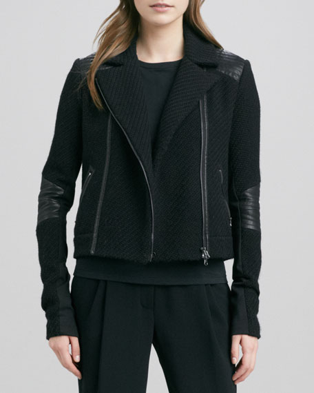 Boucle Moto Jacket, Black