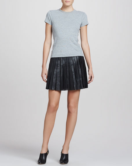 Caon Discens Pleated Leather Skirt