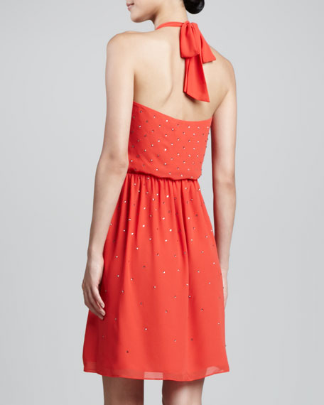 Embellished Halter Dress, Flame