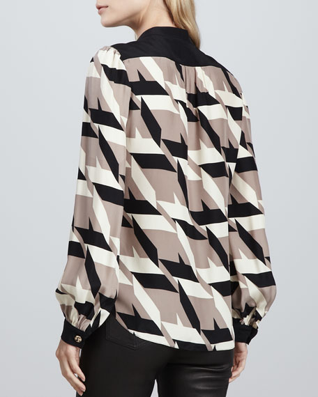 Stevie Houndstooth-Print Blouse