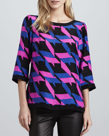 Maeve Houndstooth-Print Blouse