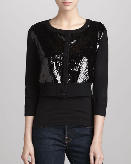 Cropped Sequined Cardigan, Black