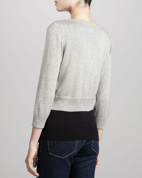 Cropped Sequined Cardigan, Heather Gray