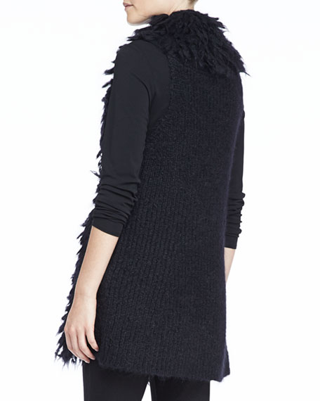 Mohair Straight Vest, Black