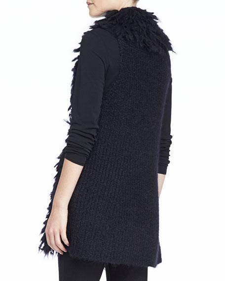Mohair Straight Vest, Black