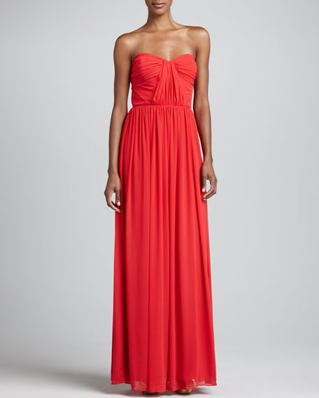 Strapless Shirred Gown, Flame