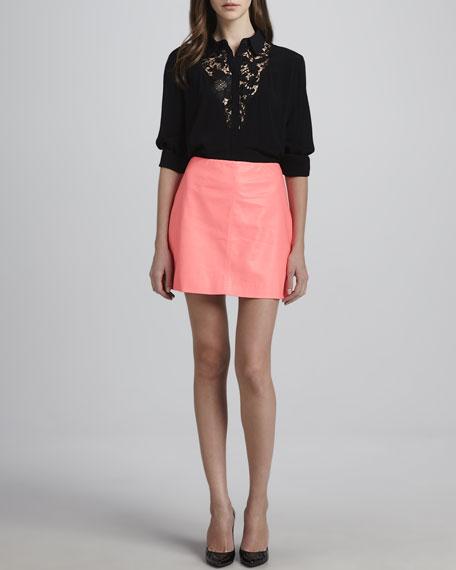 The Burbs Faux-Leather Miniskirt