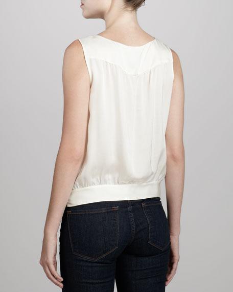 Lida Poignant Sleeveless Blouson Top, White