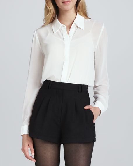 """My Step"" Button-Front Blouse"