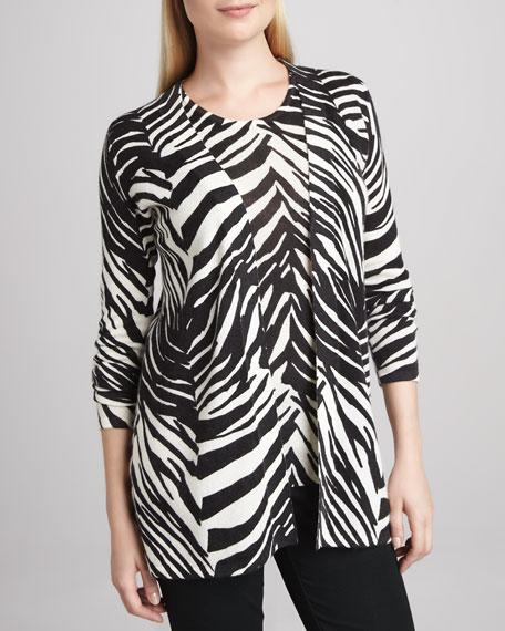 Zebra-Print Open Cashmere Cardigan