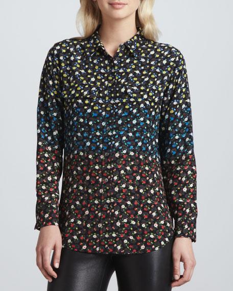 Slim Signature Spectrum Floral-Print Blouse, Black Multi